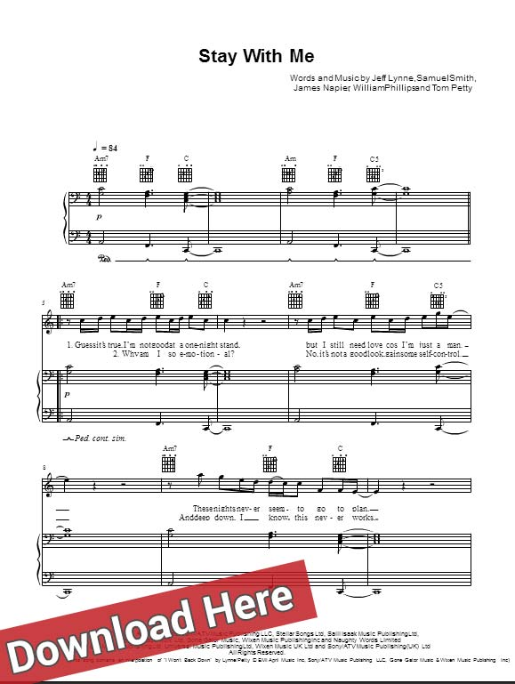Sam Smith Stay With Me Sheet Music Piano Chords Guitar