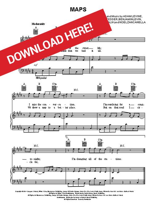 maroon 5, maps, sheet music, piano, chords, guitar, tabs