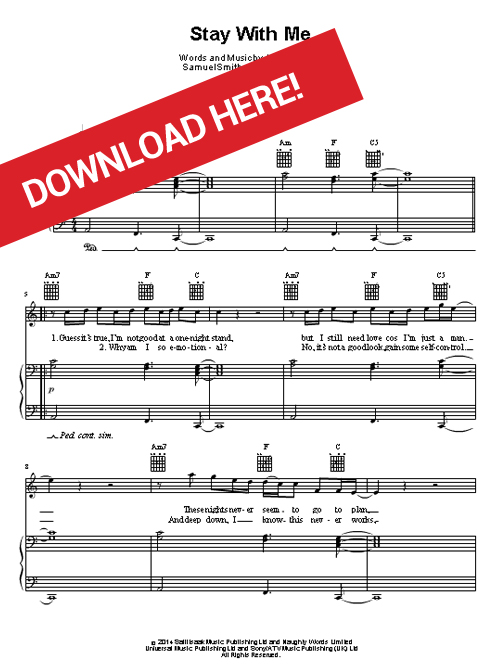sam smith stay with me piano sheet music pdf free