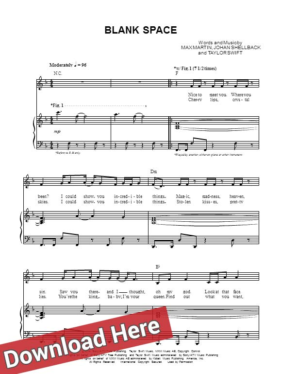 Taylor Swift Blank Space Sheet Music Piano Guitar Chords