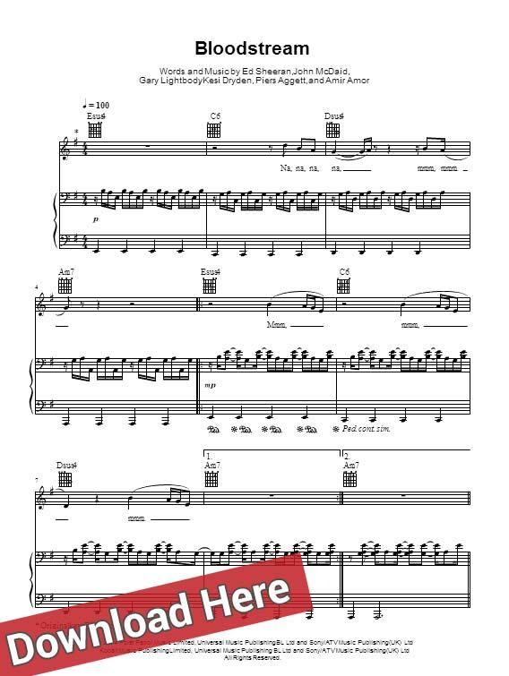 ed sheeran, bloodstream, sheet music, notation, chords, score, download, review