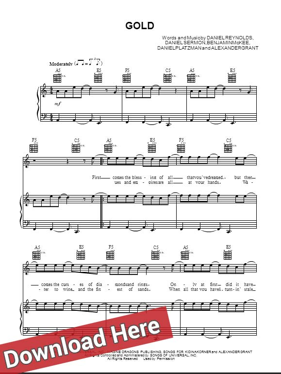 imagine dragons, sheet music, notes, score, chords, tabs