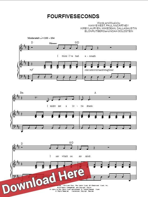 rihanna, fourfiveseconds, sheet music, chords, tabs, piano, guitar, paul mccartney, kanye west