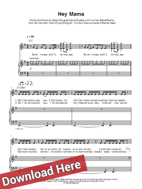 david guetta, hey mama, sheet music, piano notes, score, chords