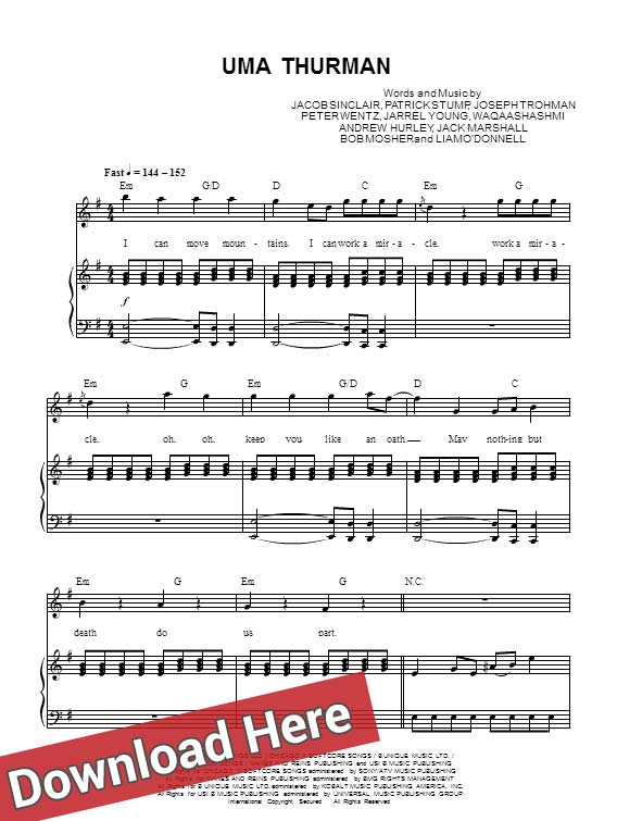 fall out boy, uma thurman, sheet music, piano notes, score, chords