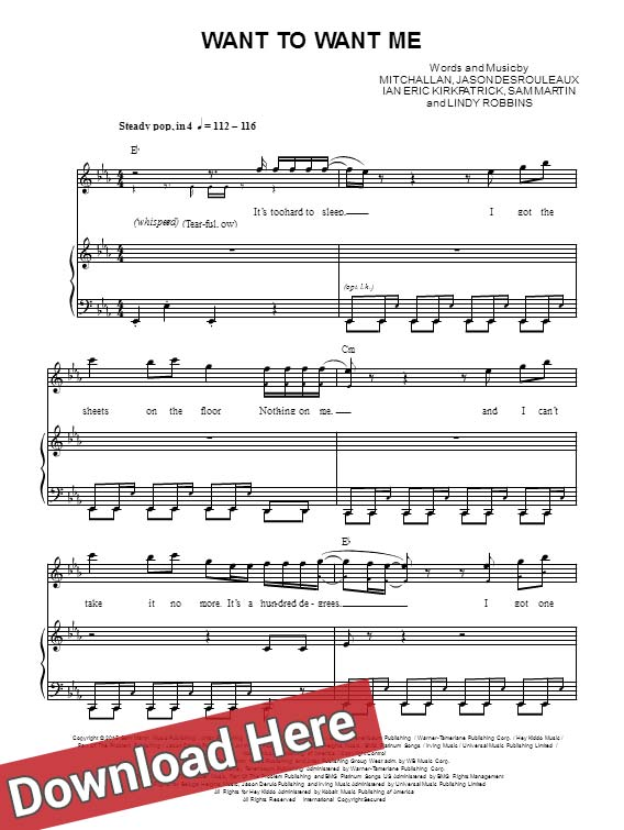 jason derulo, want to want me, sheet music, piano notes, score, chords