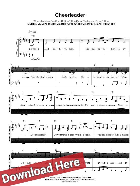 omi, cheerleader, sheet music, piano notes, score, download, chord