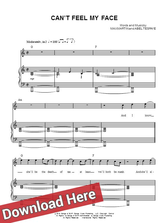 the weeknd, can't feel my face, sheet music, piano notes, score, chords, download