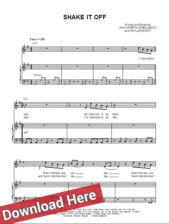 Taylor Swift, Shake It Off, Sheet Music, piano notes, download, review, chords