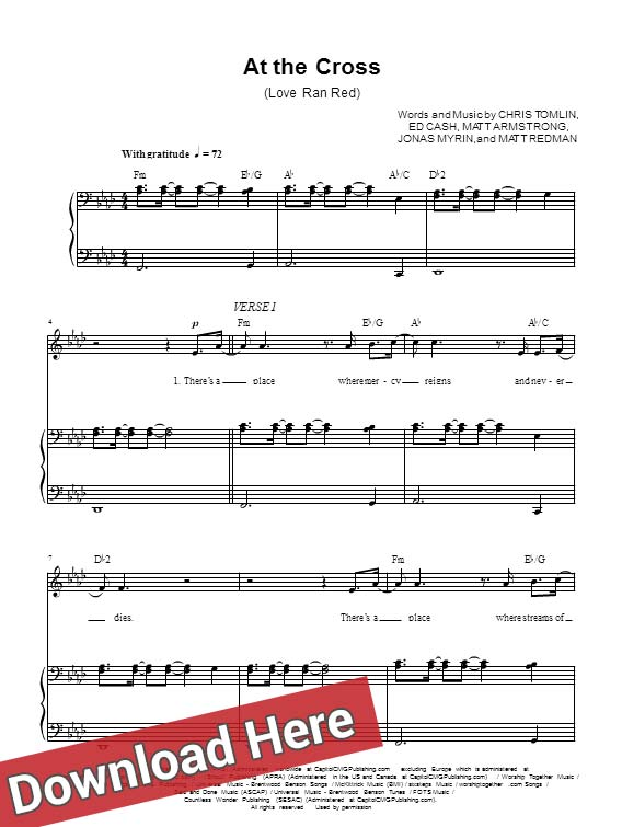 chris tomlin, at the cross, sheet music, piano notes, score, chords, download