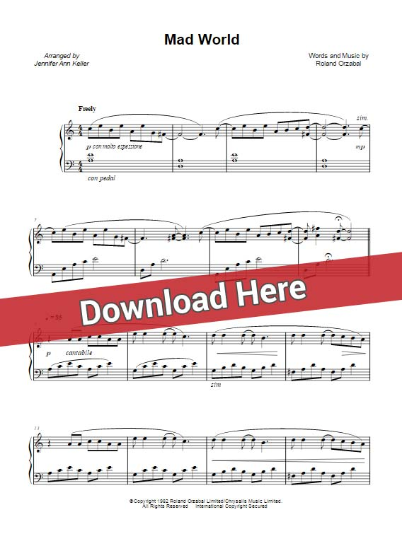 jennifer ann, mad world, sheet music, piano notes, chords, keyboard, guitar, bass, saxophone, flute, cello, klavier noten